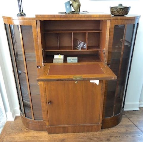 Art Deco desk with vitrine sides