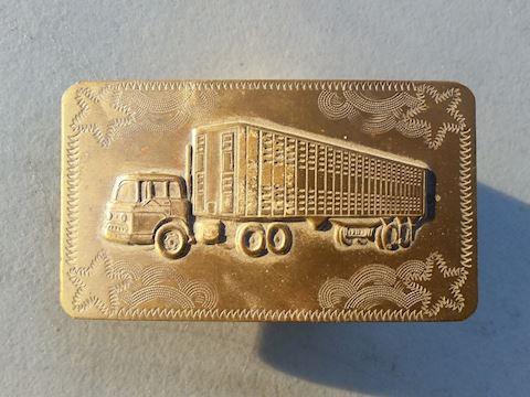 brass truckers belt buckle big rig semi long haul