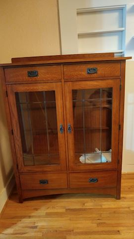 Wood Display Cabinet w/ Glass Doors