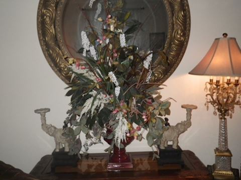 Elephant Candle Holders and Floral Arrangement