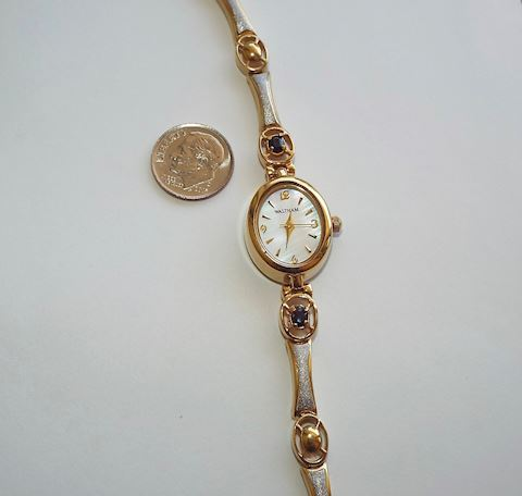 Ladies Waltham Wrist Watch w Blue Sapphires