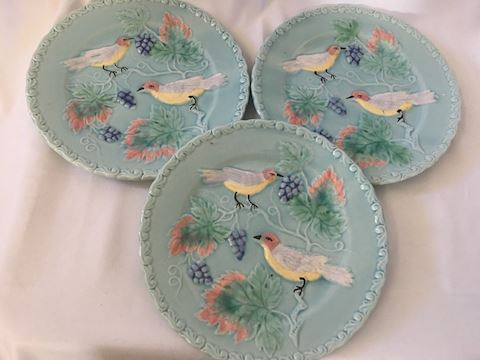 Set of 3 German Majolica Salad Dessert Plates