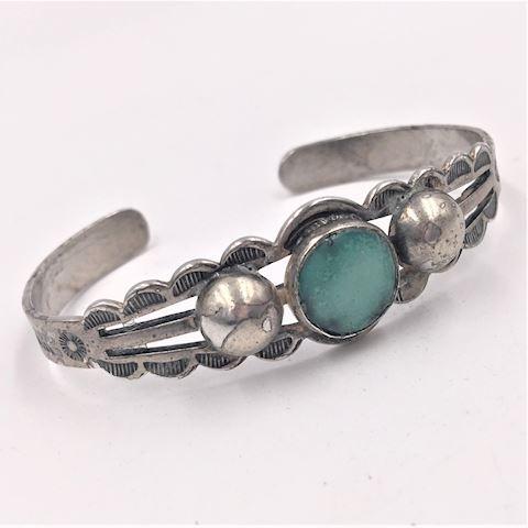 Vtg Sterling Silver Turquoise Cuff Bracelet