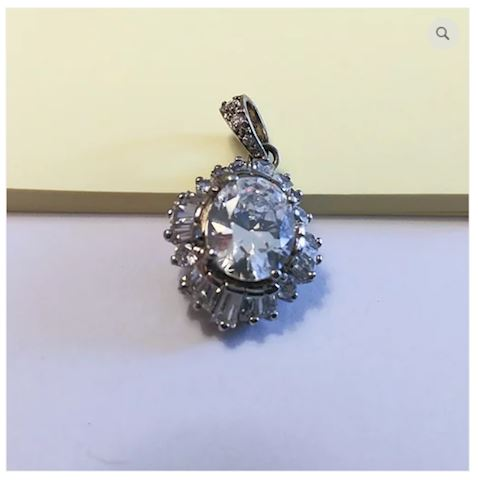 Crystal Pendant Sterling Silver