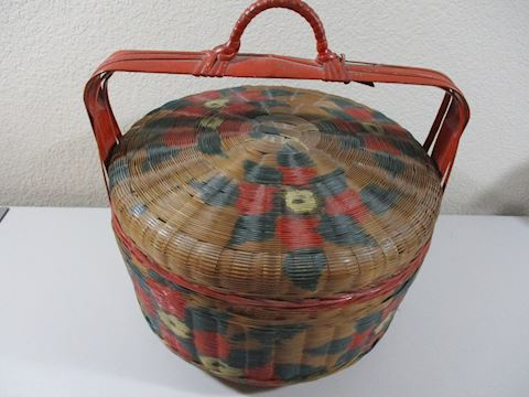 Antique Hand Crafted Wicker Sewing Basket  Rare