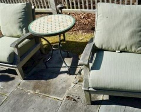 Pair of Wood Chairs & Table