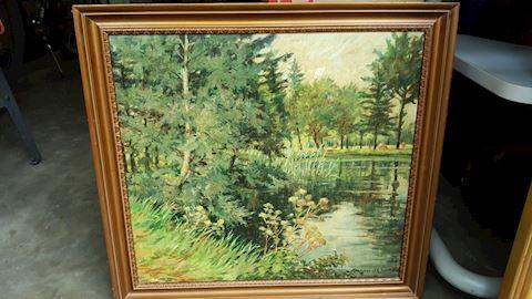 RENE VAN DE SANDE Oil on Canvas Landscape Ptg.