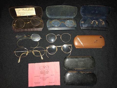 Antique eye wear lot--glasses, cases, parts