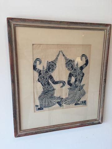 Vintage Temple Rubbing Framed ARt
