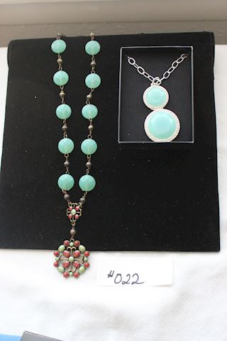 #022 Lot Two New Necklaces-Jade Color-Opalesque