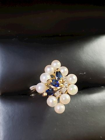 Pearls and Sapphires in 14k yellow gold