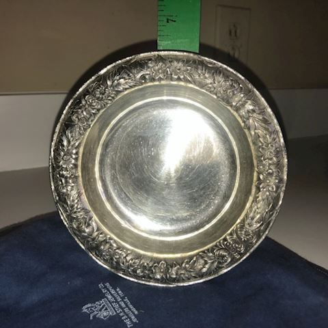 Repousse Sterling Silver Dish, S. Kirk