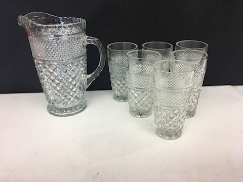 Heavy Pressed Glass Pitcher & Six Matching Glasses