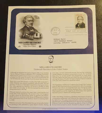 Millard Fillmore 1986 First Day Cover