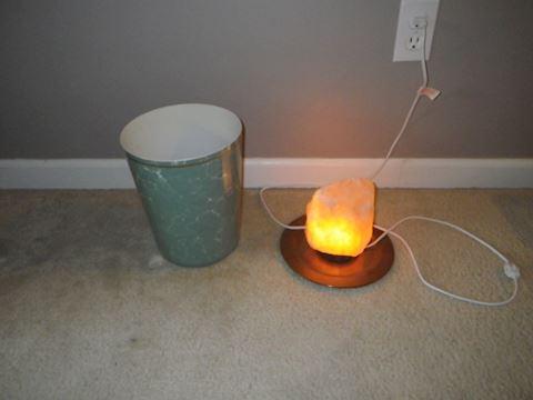 Himalayan Salt Rock Lamp and Trashcan
