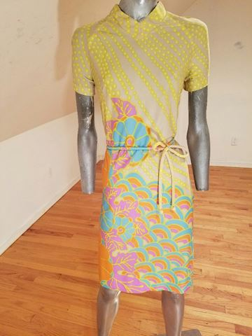 1960 Wiggle dress silk screened print w/belt