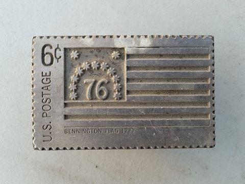 postage stamp belt buckle US bicentennial 1976