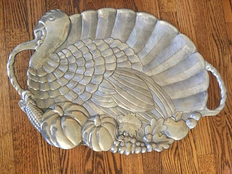 Large Pewter Turkey Thanksgiving Platter
