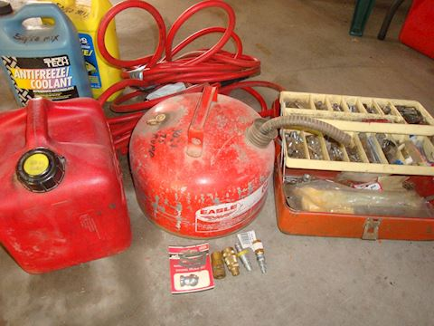 gas can, air hose, couplers nuts etc Lot # 62