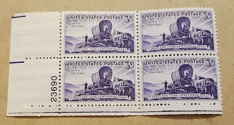 Plate Block of 4 Utah Centennial Postage Stamps