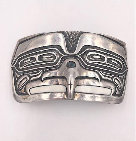 Heavy Native American Eagle Sterling Belt Buckle