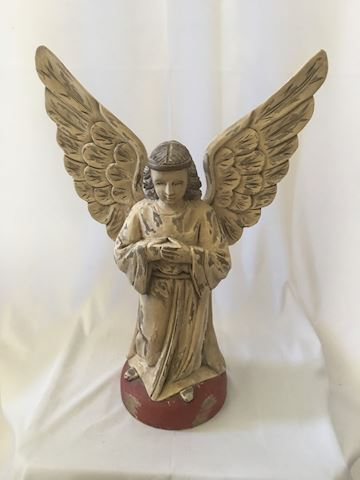 Large Primitive Style Carved Angel Sculpture