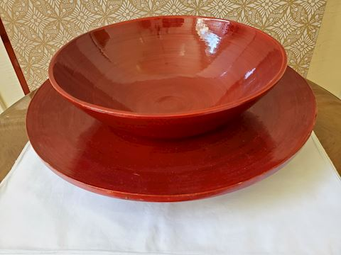 Large red wooden bowl & platter (made in Vietnam)