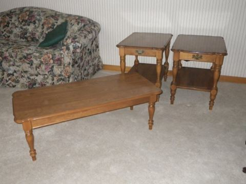 Ethan Allen Coffee Table and Pair of End Tables