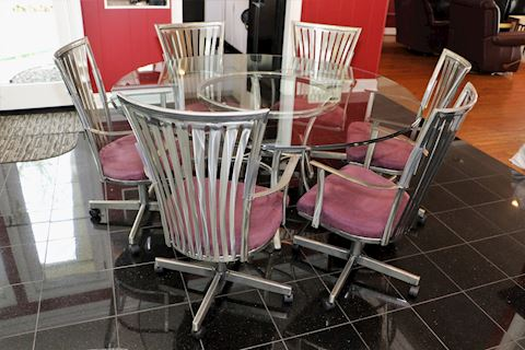 Chromecraft Stainless Dining Table & 6 Chairs