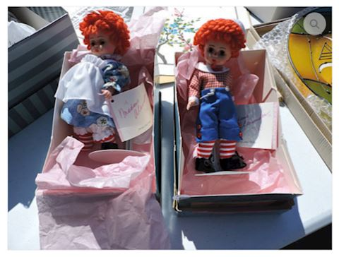 1950s Raggedy Ann & Andy w/ Box Tags