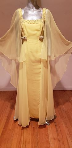 Jerri Fernell Couture embellished gown w/cape