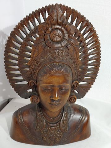 Sculpture Mahogany Hand Carved Bali Native Women
