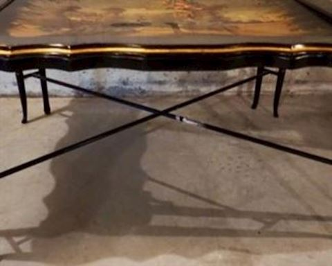 Chinooiserie Black Lacquer, Hand Painted Tea Table