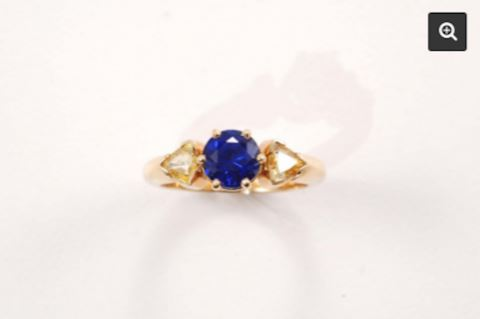 GOLD 14K Blue and Yellow Sapphire Estate Ring