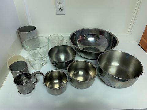 Stainless steel bowls and Pyrex