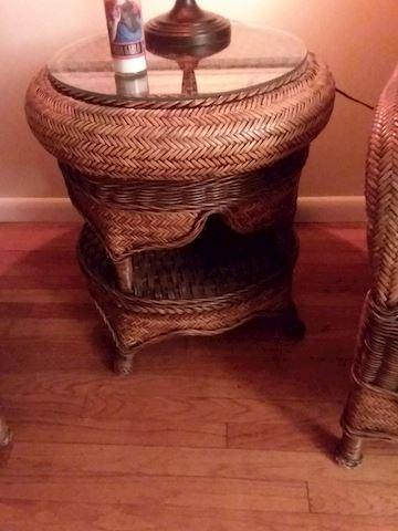 Wicker Rattan Glass Top Accent Table