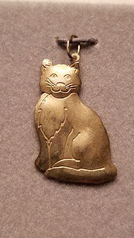 14K cat pendant