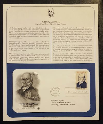John Adams 1986 First Day of Issue Cover