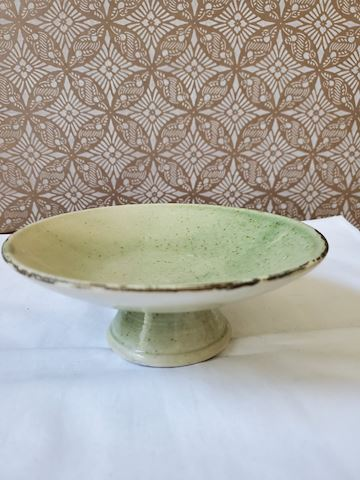 Green footed ceramic dish