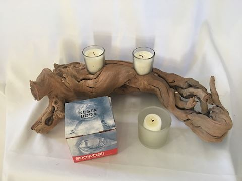 Driftwood Votive Holder with Kosta Boda Votive NIB