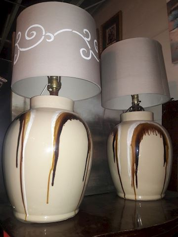 Vintage Mid Century Drip lamps w/shades or without