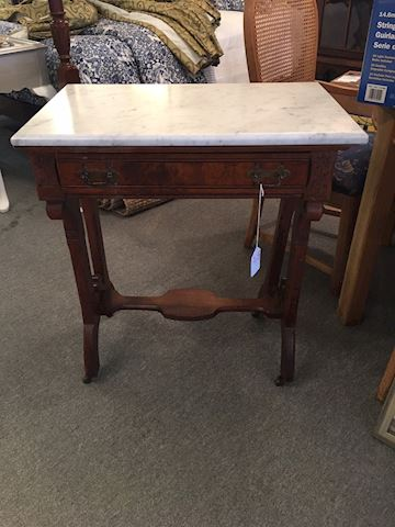 Eastlake Marble Topped Table with Drawer