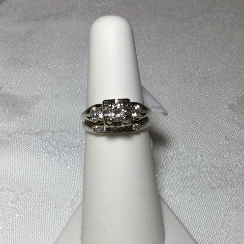 Vintage diamond white gold wedding set 14kt