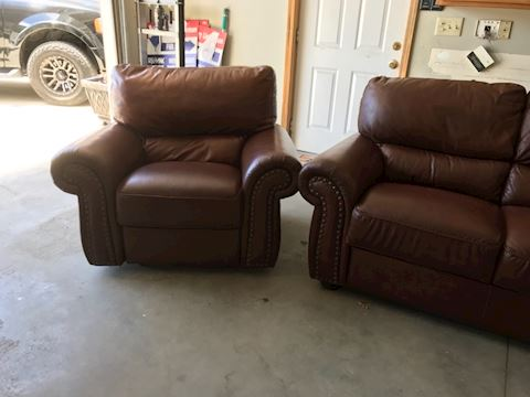 Leather Style 3 pc Living Room