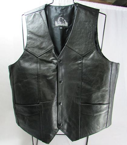 Leather King Men's Motorcycle Leather Vest Size 44