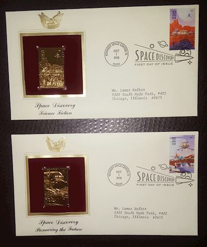 2-22K Gold Stamp Replica Space First Day Covers