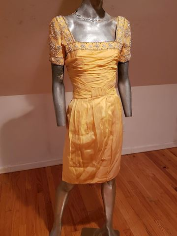 Vtg Silk Chiffon mbellished Toga ruched dress