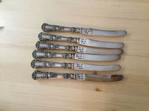 Set of 6 sterling silver knifes Gorham M'F'G co
