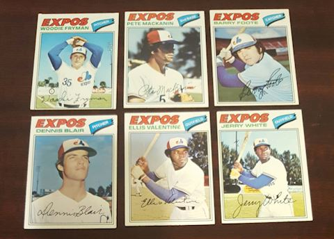 Collection of 6-1977 Expos Baseball Cards