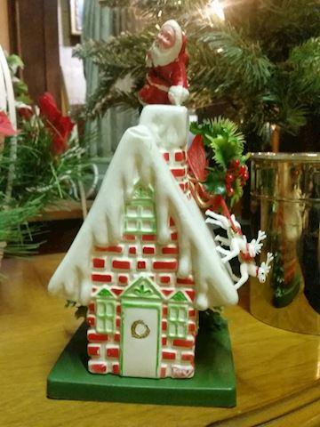 Christmas blow mold plastic centerpiece house